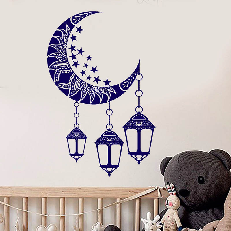 Vinyl Wall Decals Moon Stars Fanging Lights Complicated Pattern Wall Sticker Art Design Poster Mural Bedroom Decoration W335 in Wall Stickers from Home Garden