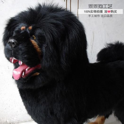 simulation cute black tibetan mastiff 90x88x30cm model polyethylene&furs dog model home decoration props ,model gift d881
