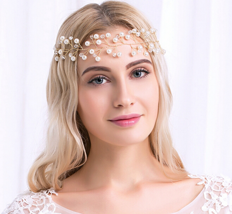 Forget-me-not Store New Flower Rhinestone Crystals Headband Chain Ribbon Women Headpiece Bridal Wedding Hair Accessories
