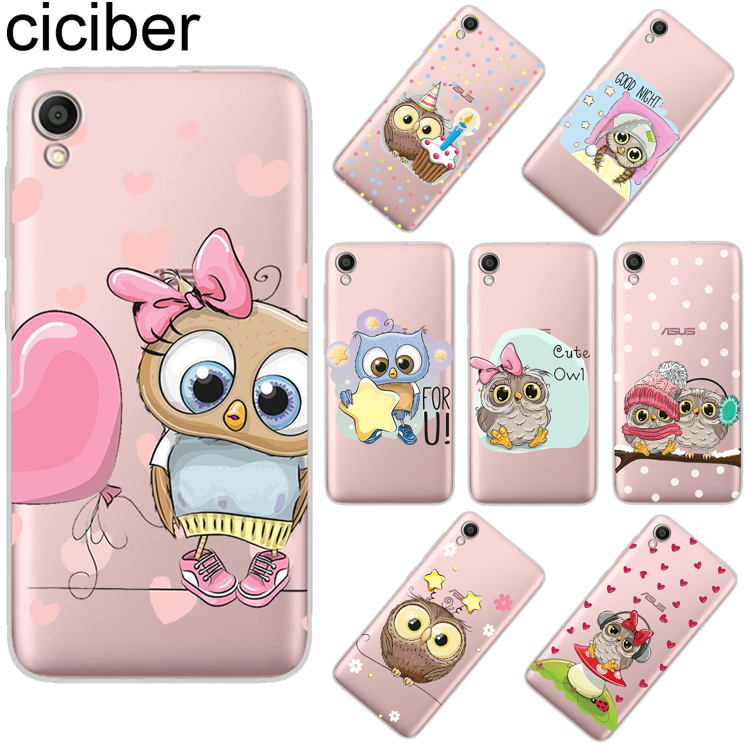 ciciber Cute Owl For ASUS ZenFone Live L1 V 3 GO Zoom S Soft TPU Phone Cases For ASUS ZenFone MAX Lite Plus Pro M1 Fundas Coque in Fitted Cases from Cellphones Telecommunications