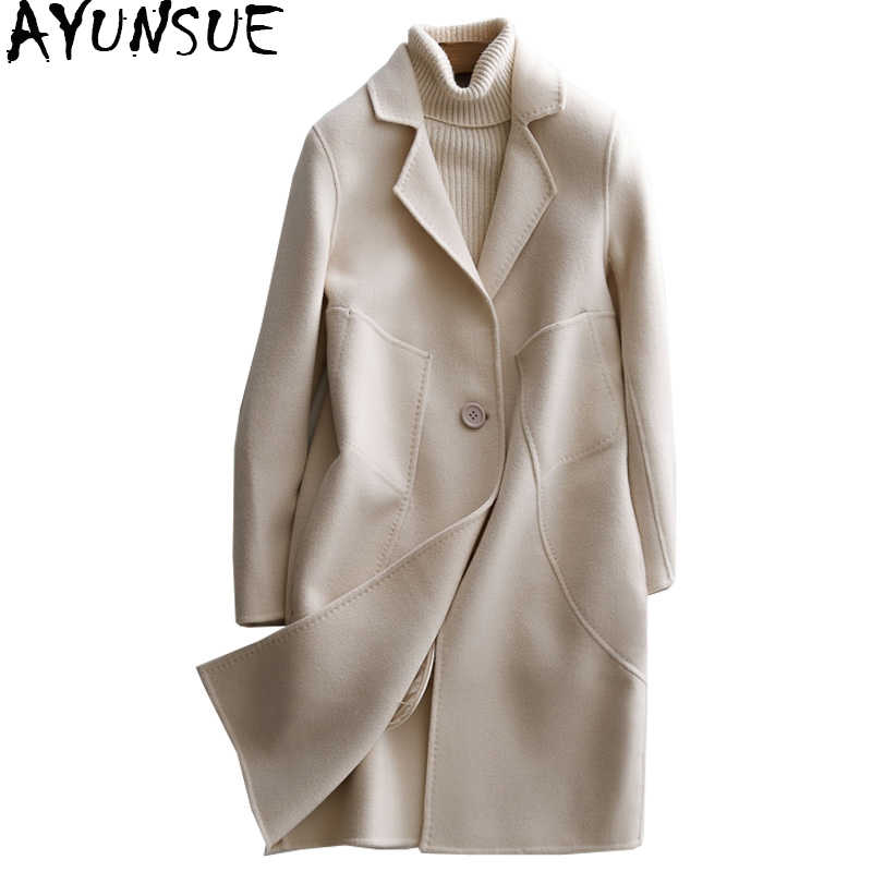 AYUNSUE 2019 New Double-side Wool Coat Women Autumn Winter Female Jacket Medium Long Women's Cashmere Coats Outerwear WYQ1390