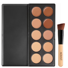 ACEVIVI 10 Colors Makeup Face Cream Concealer Palette + Powder Brush/ Puff Sponge Makeup Contour Palette Worldwide sale