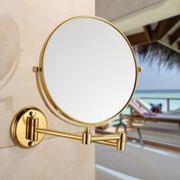 Bathroom Mirror Gold plating Wall Mounted 8 inch Brass 3X/1X Magnifying Mirror Folding Makeup Mirror Cosmetic Mirror Lady Gift