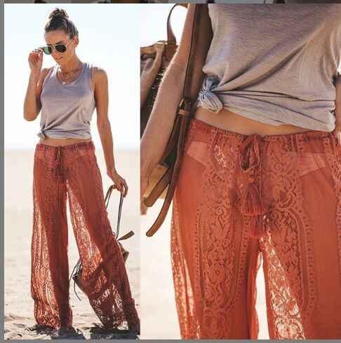 Летние женские сексуальные кружевные брюки, пляжные облегающие брюки с высокой талией