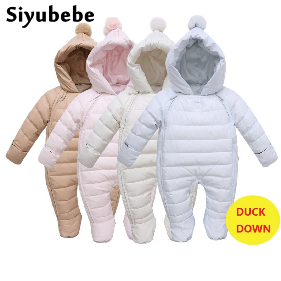 Baby Rompers Newborn Baby Girl Duck Down Winter Snowsuit Infant Baby Overalls Hooded Jumpsuit Warm Newborn Baby Boy Clothes купить в Москве 2019