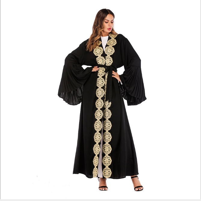 Dress Cardigan Tunic Long Robe Gowns Jubah Kimono Ramadan Arab Islamic Muslim Embroidery Abaya UAE Maxi Turkish Worship Service