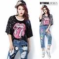 Melinda estilo 2016 nova moda feminina lantejoulas boca T - camisa manga curta letras t-shirt mulher tops 1547