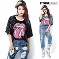 Melinda style 2016 New Women Fashion Sequined Mouth t-shirt Short-sleeve Letters T-shirt  Woman tops 1547
