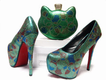 Europen Style Woman Shoes And Matching Bag Set Italian Summer High Heel Shoes And Evening Bag Set For Wedding Party Green JA10-1