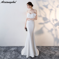 White Black Mermaid Evening Dress 2018 Strapless Sleeveless Plus Size Long Evening Gowns Satin Dress Elegant Vestido Largos