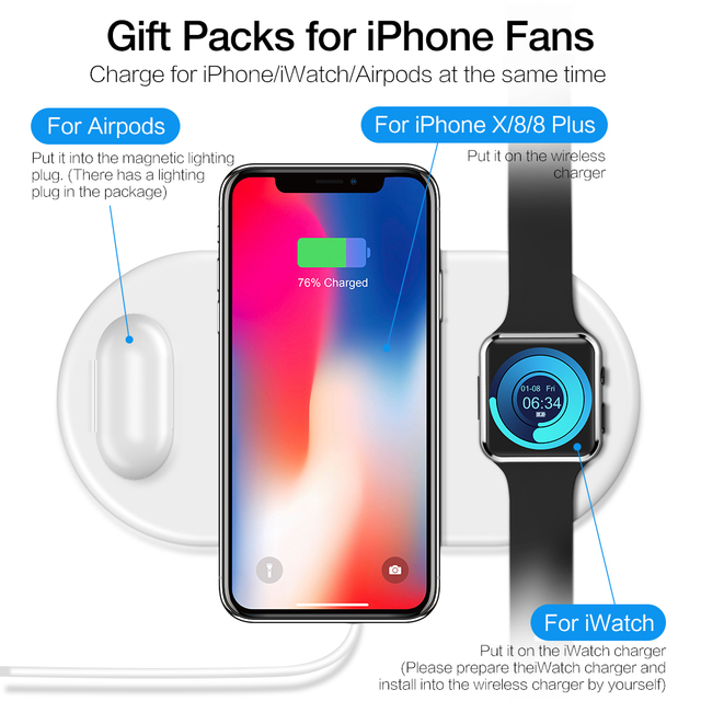 3 in 1 QI Wireless Fast Charger