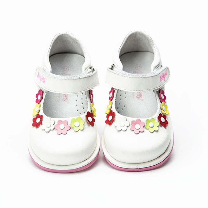 Fashion 1pair Orthopedic shoes Genuine Leather Girl Shoes,Flower Kids/Children princess shoes, New kids Shoes+inner 13.2-15.9cm