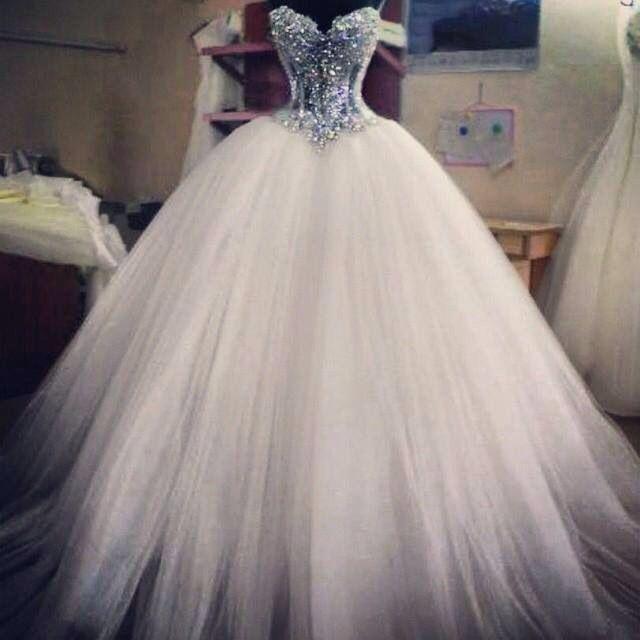 Image 4 - Fashion 2015 Vestido de Noiva Latest Design Princess Ball Gown Wedding Dresses See Through Handmade Long Bridal Dress Dazzling-in Wedding Dresses from Weddings & Events
