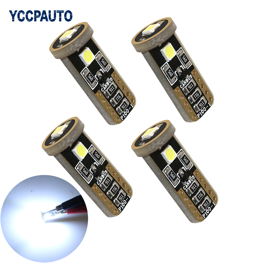 YCCPAUTO T10 LED Lights W5W White Car Side Maker Turn Signal Canbus 194 168 7W 3SMD 3030 Chip T 10 LED Lamps 4pcs