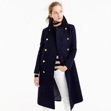UK Manteau femme Осень Зима Женское темно-синее двубортное длинное шерстяное Пальто классическое приталенное пальто abrigos mujer