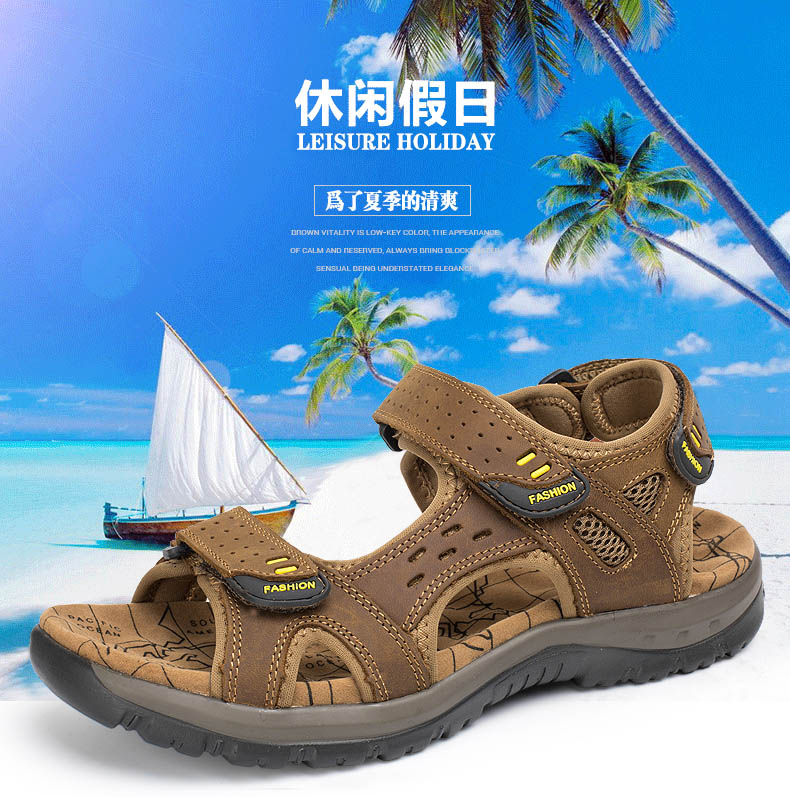 Hot Sale New Fashion Summer Leisure Beach Men Shoes High Quality Leather Sandals The Big Yards Men\`s Sandals Size 38-45 (1)