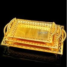 Rechteck metall serviertablett speicherplatte bandeja decorativa für hochzeit hotel restaurant event gold große trays FT009