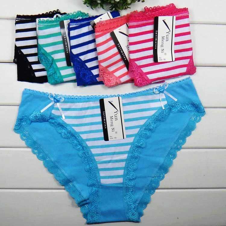 Bragas Lace underwear women briefs thongs high quality women panties fashion  Stripe Cotton Sexy women Underwear 6f0503eb8