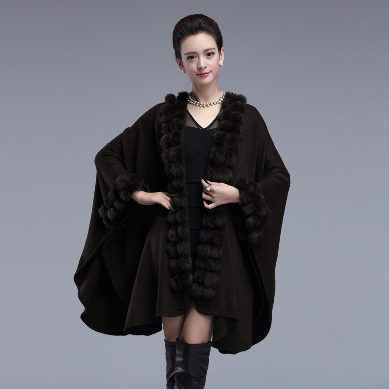 Elegant Faux Rabbit Fur Women Coat 2016 Winter Warm Woman Cape Knitting Poncho Loose Long Ladies Cloak Cardigan Shawl Clothing