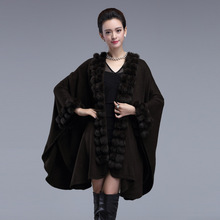 Elegant Faux Rabbit Fur Women Coat 2016 Winter Warm Woman Cape Knitting Poncho Loose Long Ladies Cloak Cardigan Shawl Clothing