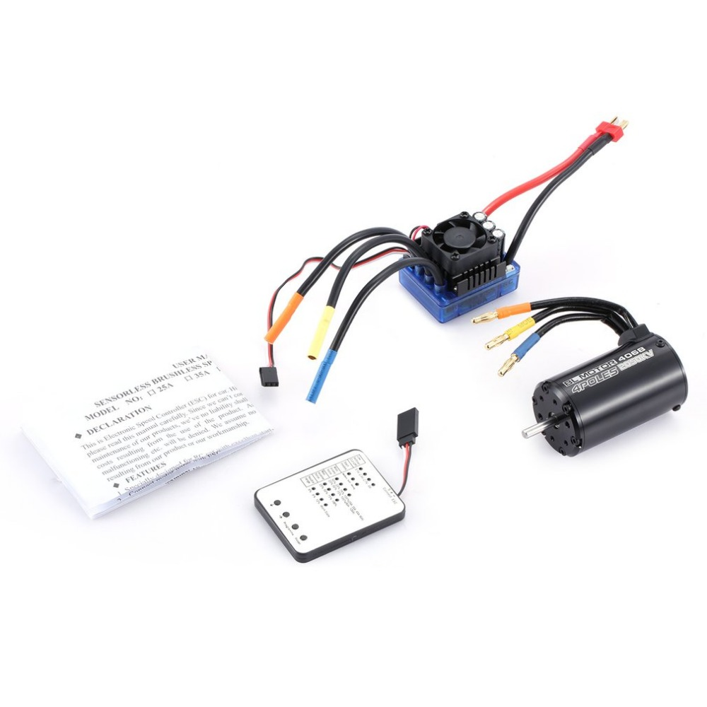 4068 2050KV 4 poles Sensorless Brushless Motor 120A ESC with LED Programming Card Combo Set for 1/8 RC Car Truck racerstar 120a esc brushless waterproof sensorless 1 8 rc remote radio car parts