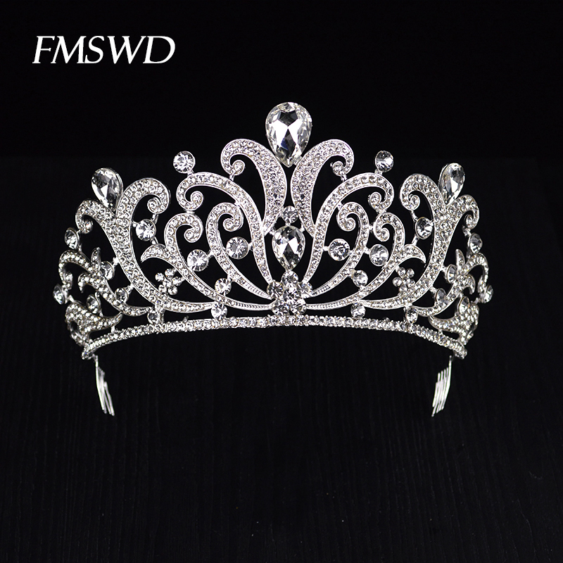 Trendy Gold Silver Color Crystal Luxury Large Queen Crown For Wedding Big Tiara Hair Jewelry For Bridal Hair Accessories HG-060 new vintage gold color luxury baroque crown rhinestone crystal queen tiara big crown for bridal wedding hair jewelry accessories