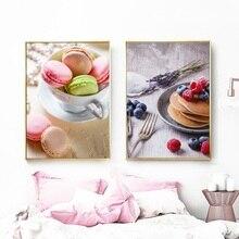 Скандинавские плакаты и принты Макарон Торт кофе Десерт холст живопись Современная домашняя отделка кухни настенные художественные картины без рамки