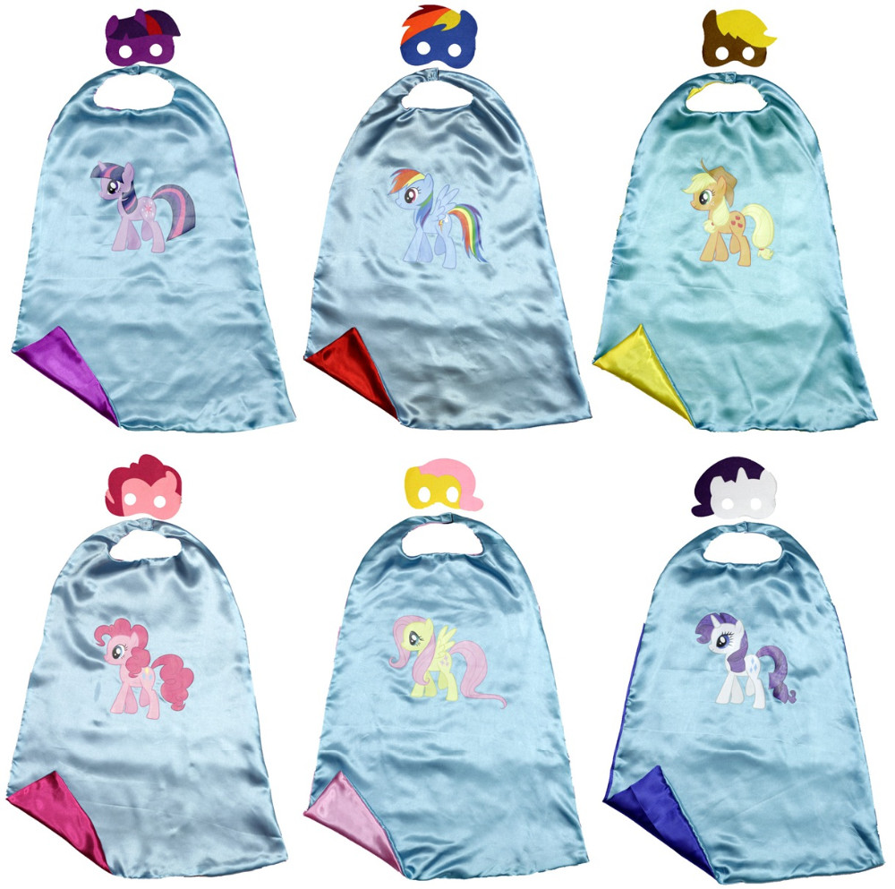 Kids cape+mask dressing up MLP cloaks for kids birthday party Halloween costume