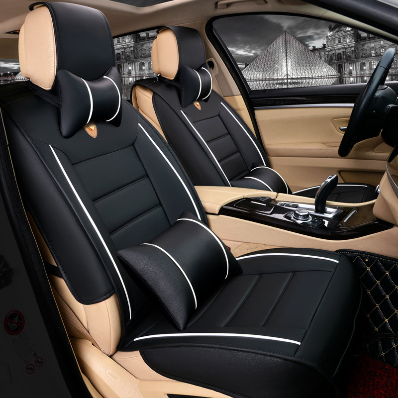 car 5 seats leather cover car covers universal for front and back seats cover interior luxury. Black Bedroom Furniture Sets. Home Design Ideas