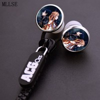 Anime Sword Art Online Zipper Cable Earphone Wired Stereo In Ear Earbuds Earphones Game Headset For
