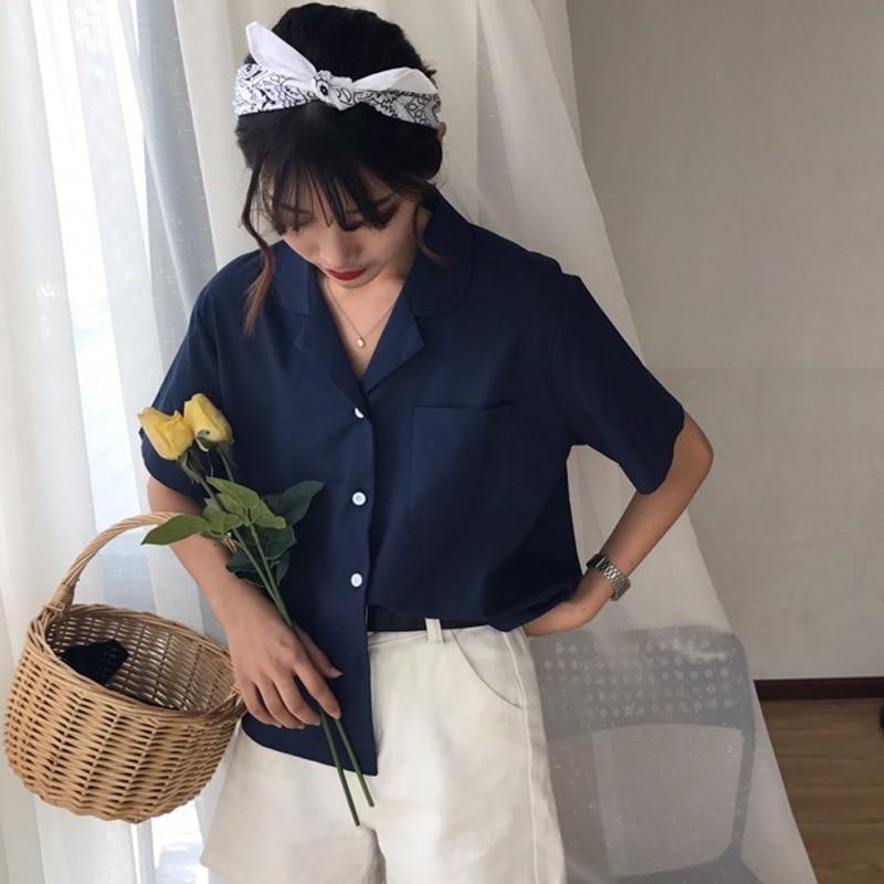 Fashion Turn-down Collar Pockets   Blouses     Shirts   Women Summer blusas harajuku Loose Short Sleeve   Blouse   Tops Female   Shirt