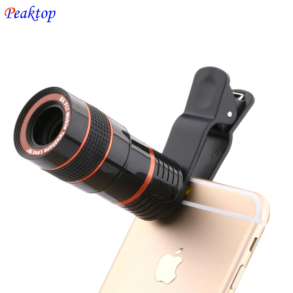 Универсальный 8x зум HD оптический телескоп объектива цифровой зум с зажимом для Samsung для HTC мобильный телефон Камера черный портативный
