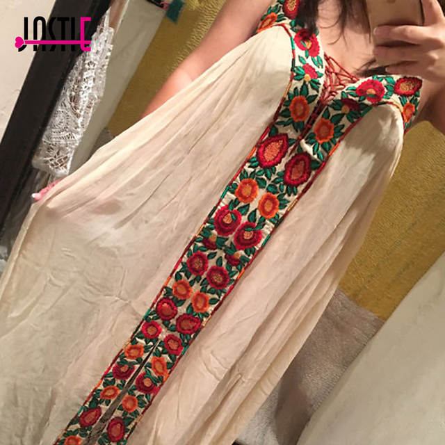 d8823f9436586 Jastie Free-Flowing Maxi Dress Floral Embroidery Boho Dress V-Neck Lace-Up  Strapless Sexy Dresses Hippie Chic Women Vestido Robe