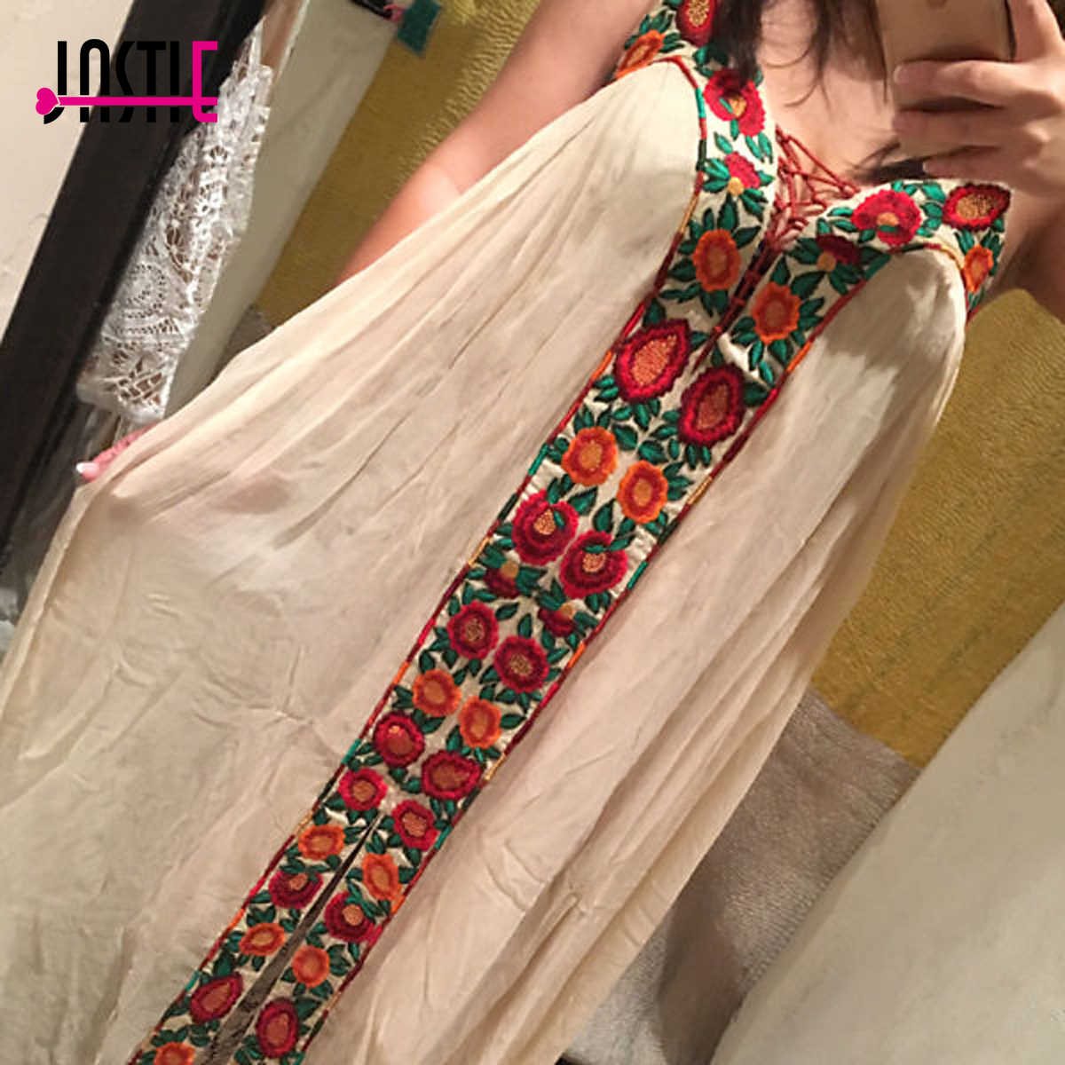 7a6d57aea016 ... Jastie Free-Flowing Maxi Dress Floral Embroidery Boho Dress V-Neck  Lace-Up ...