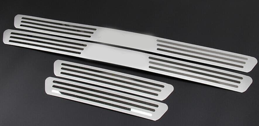 Free Shipping STAINLESS DOOR SCUFF SILL PANEL STEP PLATES Car Accessories For 2009 2010 2011 2012 For VW For VOLKSWAGEN POLO