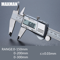 MAXMAN 0 150mm/200mm/300mm All Stainless Steel High Precision Electronic Digital Vernier Caliper Measuring & Gauging Tools