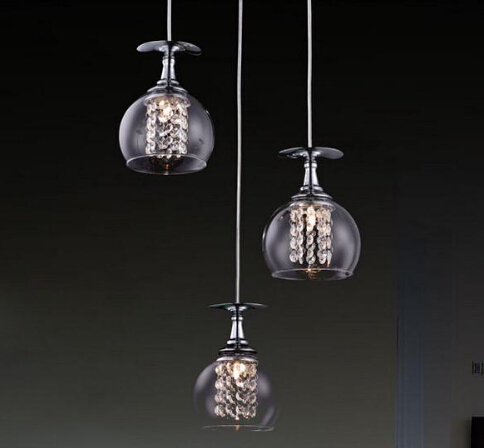 Modern G4 Glass Shade Crystal Pendant Lights Restaurant