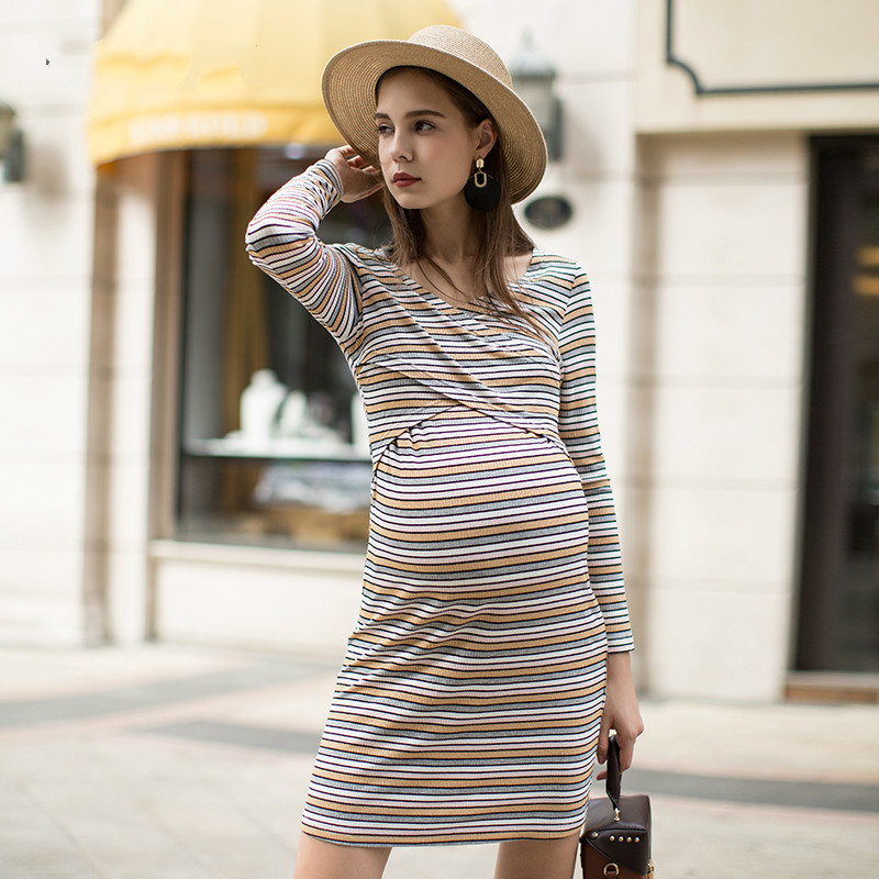 Maternity Dresses V-Neck Pregnancy Clothes for Pregnant Women Knee-Length Office Lady Business Dress Costume