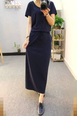 81b153aebc86d Women Summer Dress Black Casual Shift Dresses Womens Plain Grey O-Neck  Short Sleeve Rolled-cuff Pockets Split Maxi Dress G210