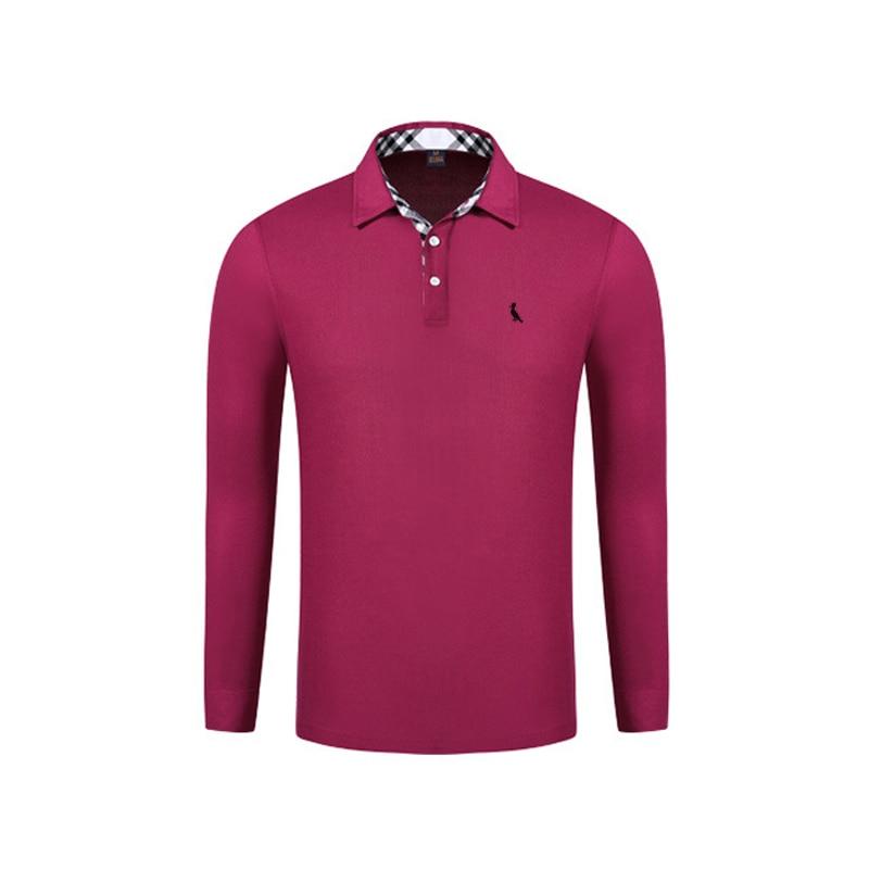 2017 mode Sergio K. Top qualité couleur unie hommes Polo broderie Plaid Polo chemises décontracté hiver hommes à manches longues