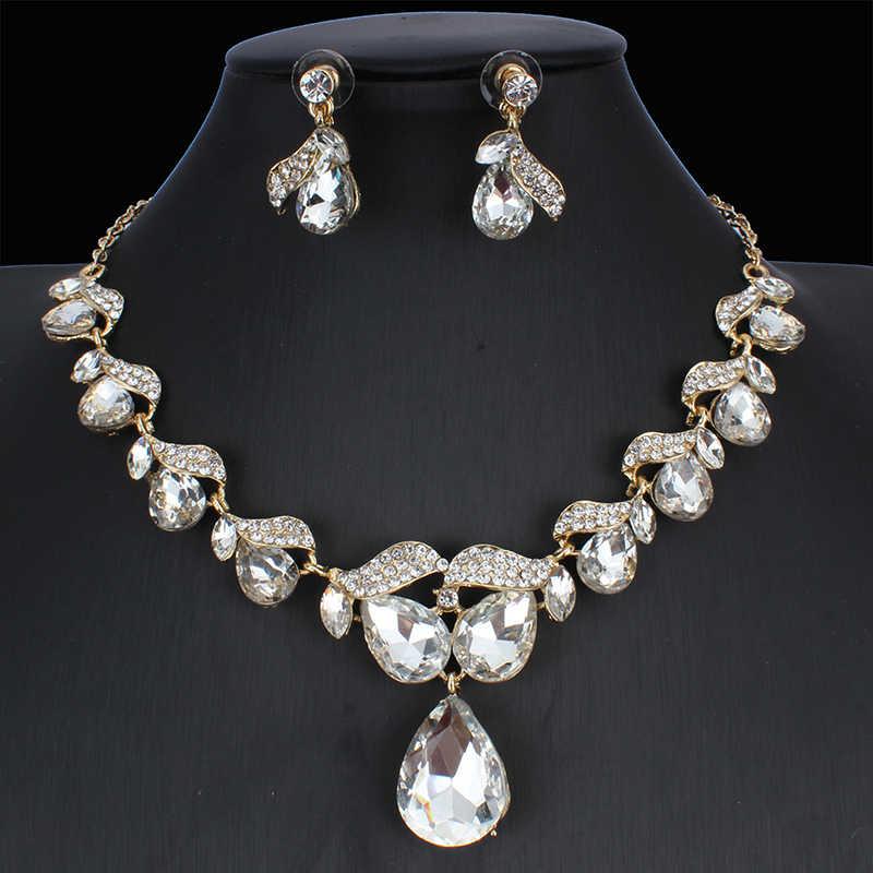 Jiayijiaduo Bridal Pernikahan Perhiasan Set Crystal Kalung Anting-Anting Set 3 Warna untuk Wanita Pernikahan Perhiasan Ne + EA