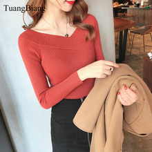 2018 Autumn Winter V-Neck Pullovers Blue Sweater knit elasticity Long Sleeve Off shoulder Sweater feminino Solid color Sweaters