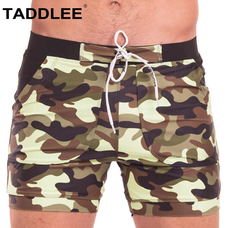 88ad3bd26d Taddlee Brand Sexy Men's Swimwear Swimsuits Men Swimming Boxer Trunks Camo  Beach Board Shorts Pockets Surfing