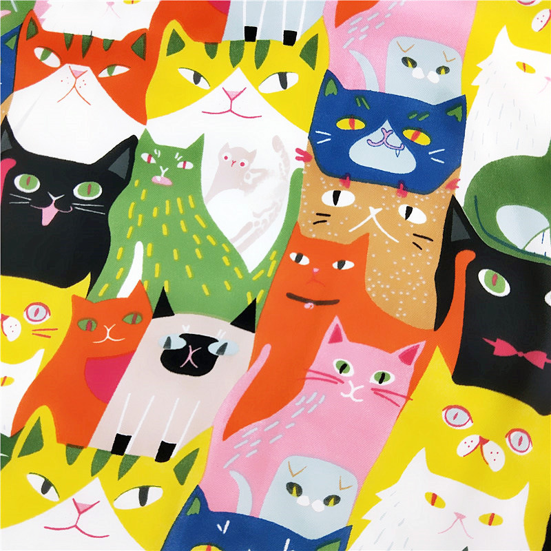 Euro Designer Spring/Fall Square Multicolor Cats Animals Scarf For Ladies Satin Silk Women Scarfs Foulard Apparel Accessories