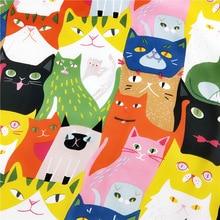 Euro designer scarf fashion square Multicolor cats scarves for ladies satin silk women scarfs foulard Apparel Accessories