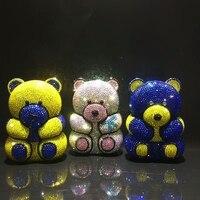 Несколько Медведь Форма леди вечерние Кристалл Вечерняя сумочка; BS010 s для девочек/женские подарочные пакеты мини вечерняя сумочка; BS010 клат