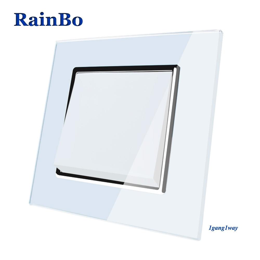 Rainbo marca fabricante del interruptor de botón de interruptor de pared panel de cristal AC 110-250 V 1Gang1Way A1711W /B