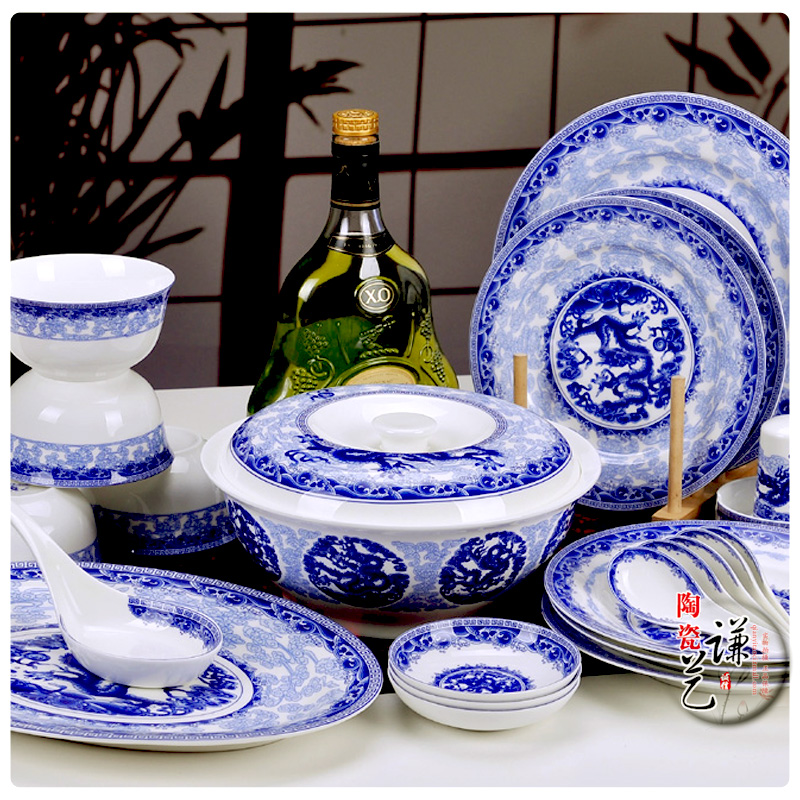 Nine authentic Jingdezhen ceramic 56 head bone china tableware set