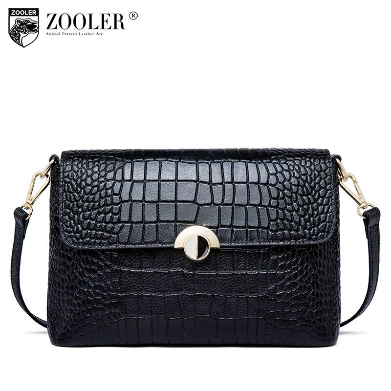 2018 nouveau sac en cuir véritable femme ZOOLER classique bouton croix corps petites femmes épaule messenger sacs bolsa feminina # P119
