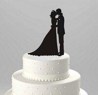 Gorąca sprzedaż Wygrawerować Czarne Litery Akrylowe Wedding Cake Topper Romantyczny